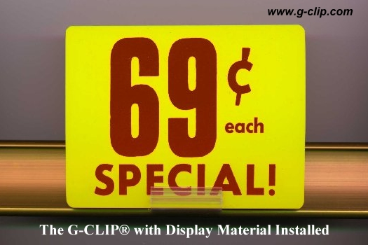 G-Clip® price channel sign holder with display material installed
